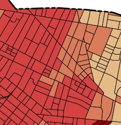 Showing Donnelly Park (not very well, I'm afraid) just south of Cambridge Street, outside Inman Square, with  higher population densities marked in darker tones.