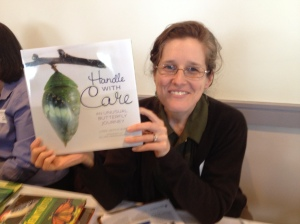 Loree Griffin Burns, with her book Handle with Care: An Unusual Butterfly Journey, at MEES conference, Spring 2014