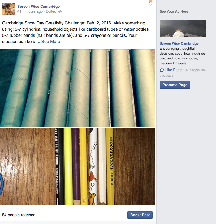 photo of snow day challenge materials