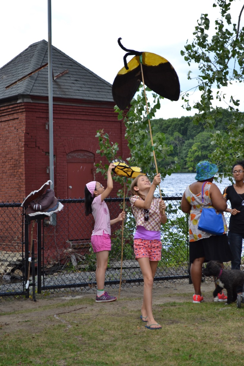 Giant puppets of monarch and other butterflies (and a few moths) were part of the festivities and parade that escorted the butterflies to Lusitania Meadow at Fresh Pond Reservation, where they were released. Kim Ahern/Cambridge Water Department Photo.