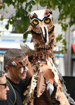 Owl and Owl Puppeteer.CWPPat.Honk.Parade.2017